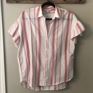 Madewell Striped Short Sleeve Ruffle Button Up